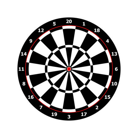 classic darts board game template in black and white Vector illustration Çizim