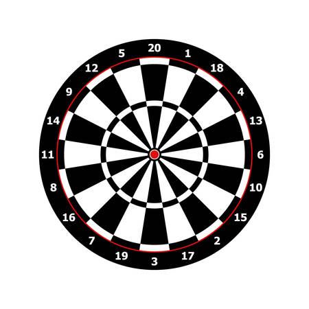 classic darts board game template in black and white Vector illustration Vettoriali