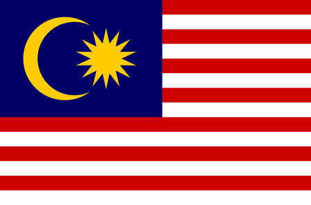 malaysian national flag, official flag of malaysia accurate colors Vector illustration.