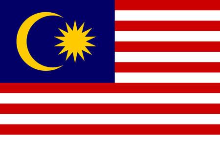 Malaysische Staatsflagge, offizielle Flagge von Malaysia genaue Farben Vector Illustration.