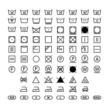 istruzioni sull'etichetta di lavaggio dei vestiti, set di icone di simboli di lavanderia, icone di etichette di lavaggio per i vestiti Vettoriali