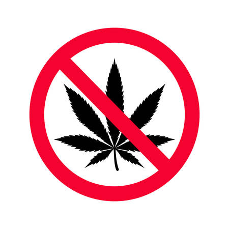 Red prohibition no drugs sign. No marijuana sign. Do not use drugs sign. Illustration