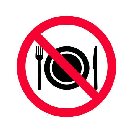 Nessun segno permesso di mangiare. Divieto rosso nessun segno di cibo. Non mangiare segno Vettoriali