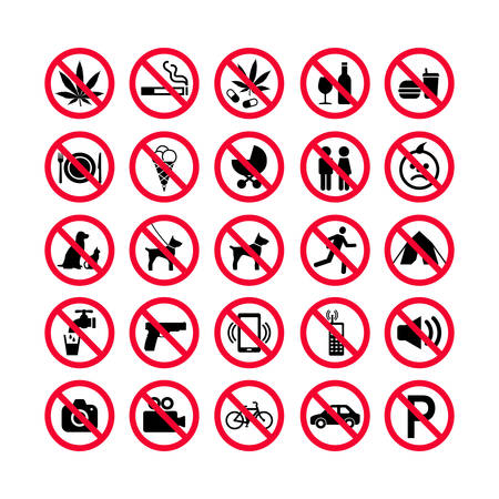 Red prohibition icons set vector illustration