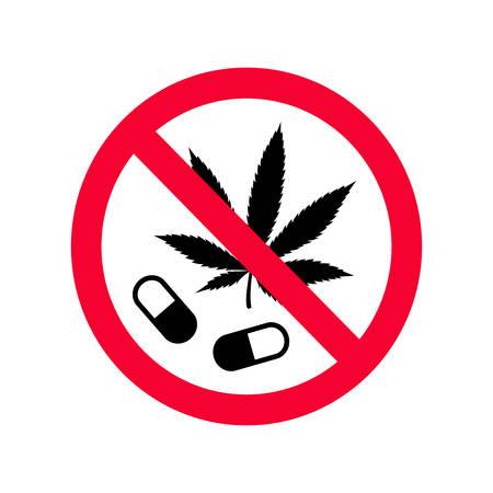 赤禁止薬物はサインしない。麻薬のサインを使ってはいけません。禁止記号の薬物を使用しないでください。