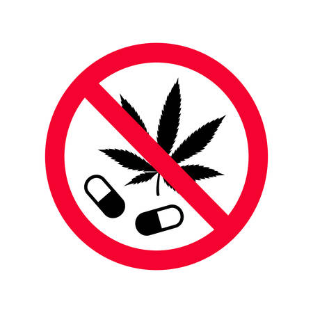 Red prohibition no drugs sign. Dont use narcotics sign. Do not use drugs forbidden sign.