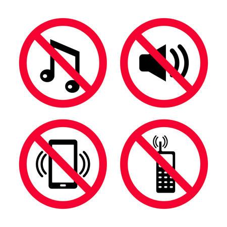 Maak geen lawaai, geen mobiele telefoons, geen muziek, geen harde geluiden, houd stilte rode verbodstekens.