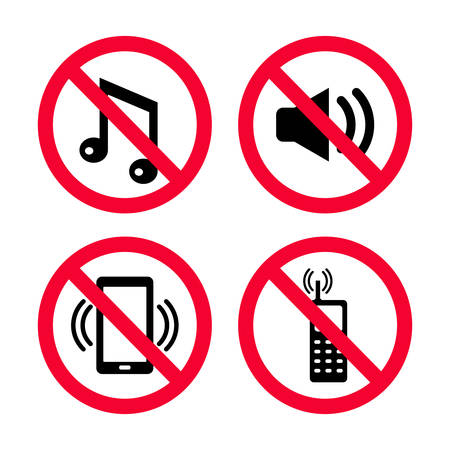 Don't make noise, No mobile phones, no music, No loud noises, Keep silence red prohibition signs.