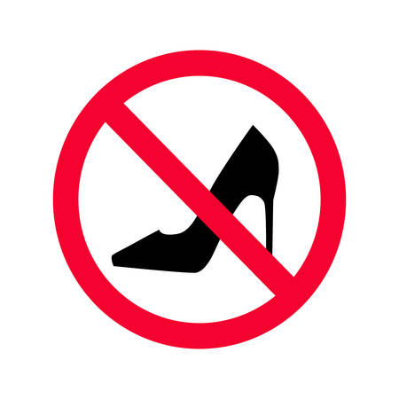 No high heels red prohibition sign. No high heels allowed sign. No high heels shoes.