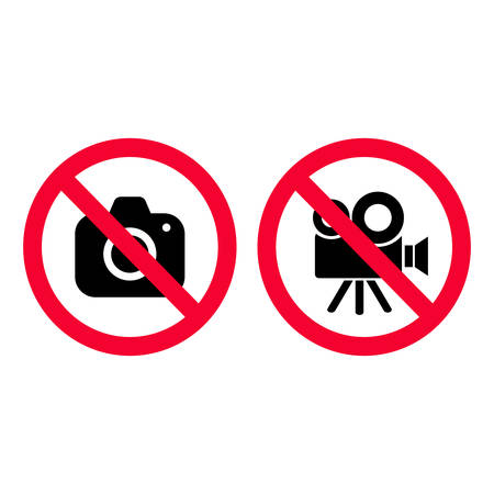 No camera and video red prohibition signs. Taking pictures and recording not allowed. No photographing sign. No video camera sign. Illustration