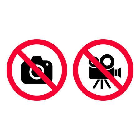 No hay señales de prohibición rojas de cámara y video. Tomar fotos y grabar no está permitido. No hay señal de fotografía. No hay señal de cámara de video.