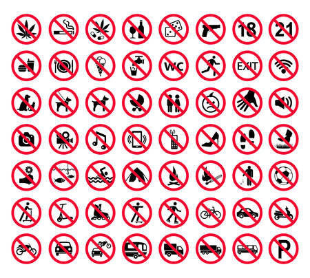 Red prohibition sign set. Forbidden signs collection Vector illustration.
