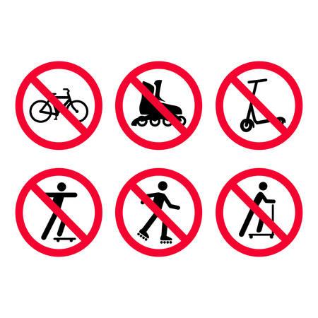 Ensemble de panneaux d'interdiction rouges. Pas de vélos, de vélo, pas de patin à roulettes, pas de scooters. Illustration vectorielle.