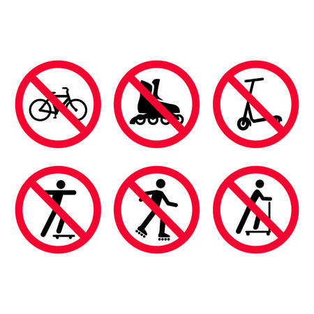 Red prohibition signs set. No bicycles, biking, no roller skating, no scooters. Vector illustration.