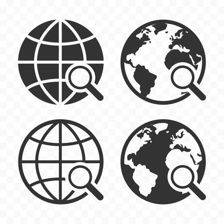 Globe with magnifying glass icon set. Planet earth and magnifier.