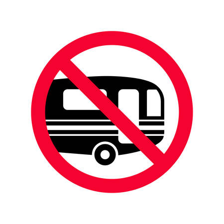 Red prohibition sign no campers. Caravans lorry parking not allowed sign. Ilustração