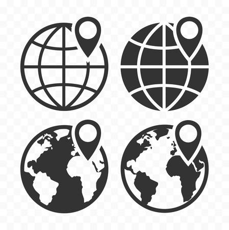 Globe web icon and location pin. Planet earth icon set with pointer pin.