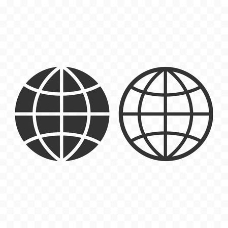 Globe web symbol icon set. Planet with parallels and meridians sign.