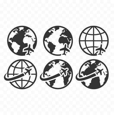 Globe symbol web icon set with airplane flight sign. Planet Earth icons with airplane flying icon. Illustration
