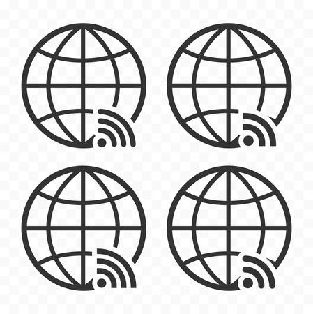 Globe symbol web icon set with wireless signal sign. Planet Earth icons with wi fi sign. Illustration