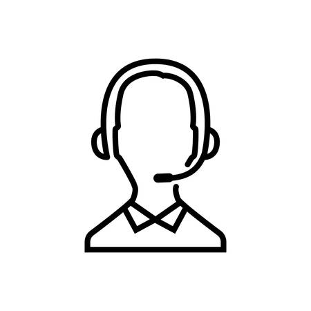 Call center operator thin line icon. Contact icon, man with headphones and microphone. Outline, editable icon.