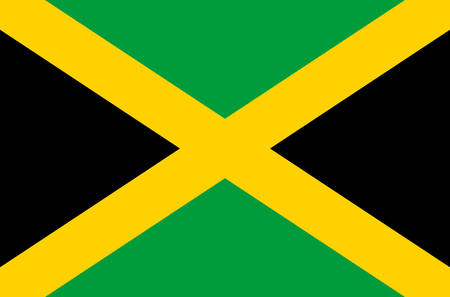 Jamaican national flag, official flag of Jamaica accurate colors, true color