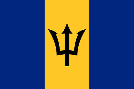 Barbados national flag, official flag of Barbados accurate colors, true color Stock Illustratie