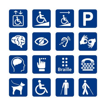 Blue square set of disability icons. Illustration