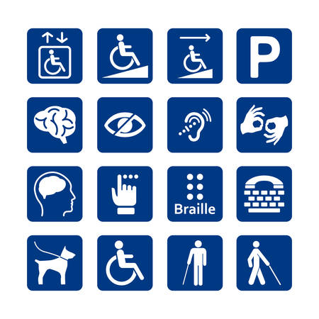 Blue square set of disability icons. 矢量图像