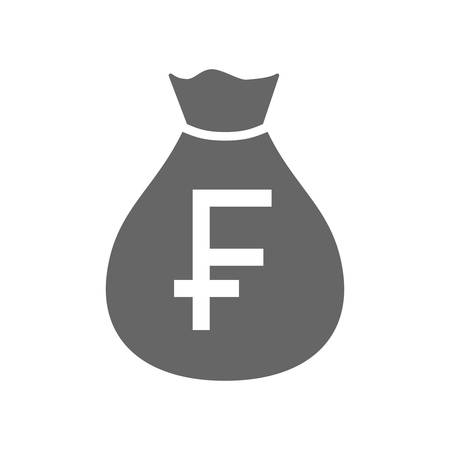 Money bag currency simple design icon. Swiss franc moneybag icon. Switzerland franc money sack. Ilustração