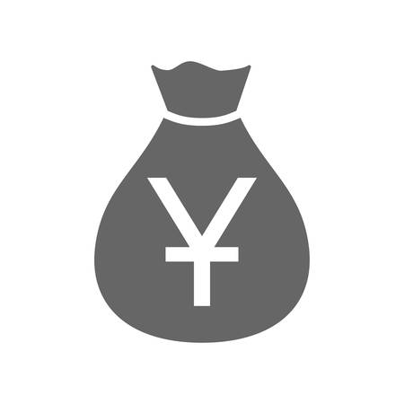 Money bag currency simple design icon. Chinese yuan moneybag icon. China yuan money sack