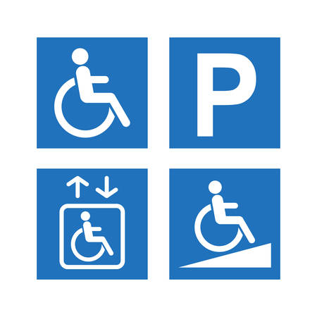 Disability accessibility icon set. Disabled parking, ramp and elevator blue square signs.