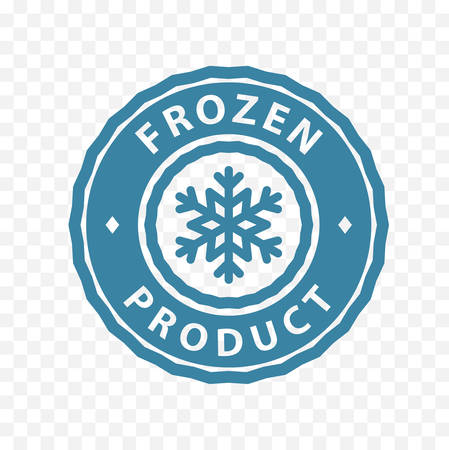 Frozen product badge stamp information sticker. Blue circle frozen product symbol icon.
