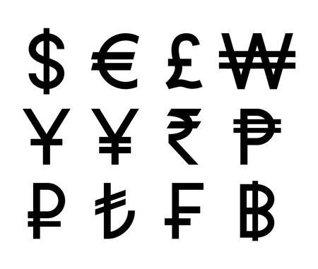 Popular countries currencies symbols. Black isolated currency icons.