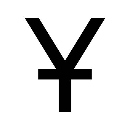 Chinese yuan currency symbol. Black silhouette china yuan sign.