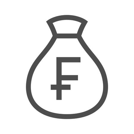 Money bag outline simple design icon.  Swiss franc moneybag icon.