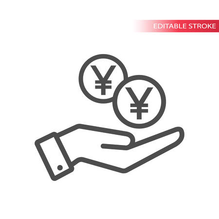 Outline flat icon of yen coins falling in hand. Hand and coins dropping web pictograph. Japanese yen coin and a palm.