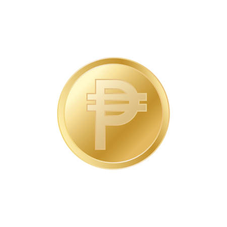 Golden Pesos coin. Realistic lifelike gold Peso coin.