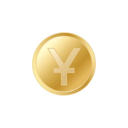 Golden Chinese yuan coin. Realistic lifelike gold yuan coin.