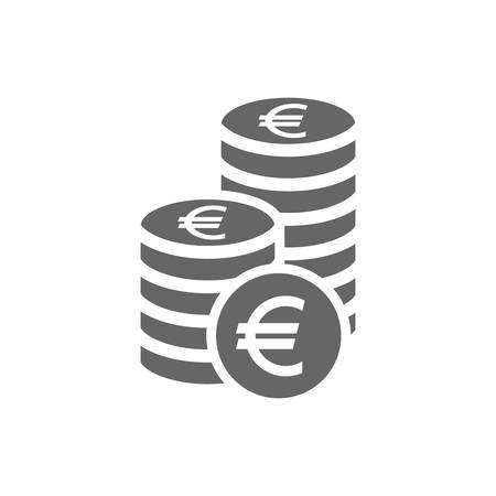Euro coin stack icon. Coins stacks icon, pile of euros coins. Çizim
