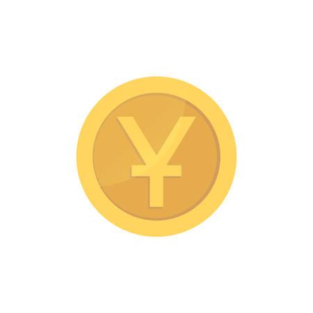 Golden glossy yuan coin. Gold pictograph yuan shiny coin.