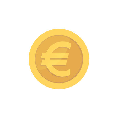 Golden glossy euro coin. Gold pictograph euro shiny coin.