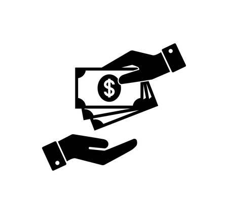 Mano sosteniendo dinero. Mano con billetes. Pago en efectivo y recepción de icono de dinero. Pagar iconos de dinero.