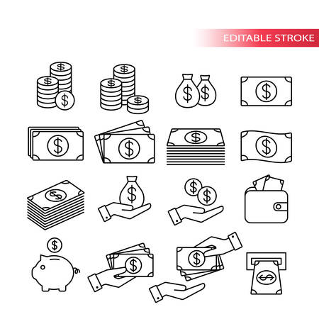 Thin line, fully editable icon set. Money icons. Money stack, coin stack, piggy bank, wallet with money, cash payment, hand holding money icons.
