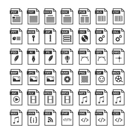 File type icons. Files format icon set in black and white, software symbols buttons