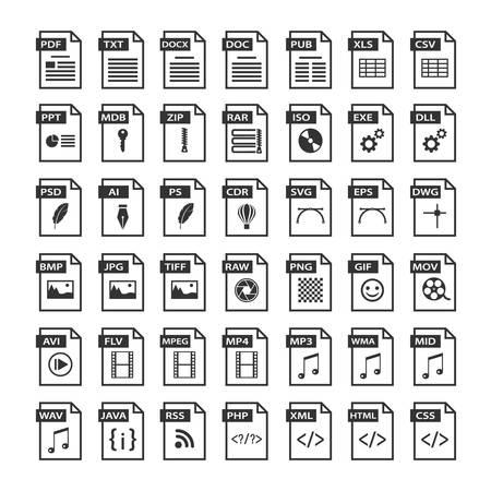 Iconos de tipo de archivo. Icono de formato de archivos en blanco y negro, botones de símbolos de software Ilustración de vector