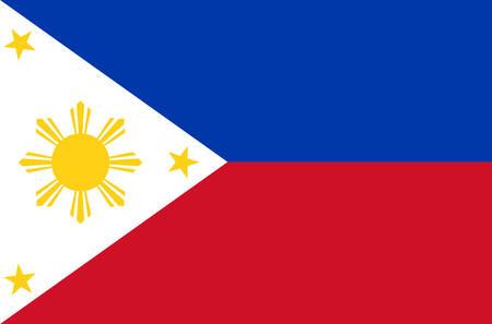 Filippijnse nationale vlag. Officiële vlag van de Filipijnen, nauwkeurige kleuren, ware kleuren