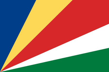 Seychelles national flag. Official flag of Seychelles accurate colors, true color