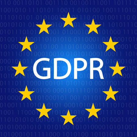 GDPR concept illustration. General data protection regulation icon in blue gradient and binary code