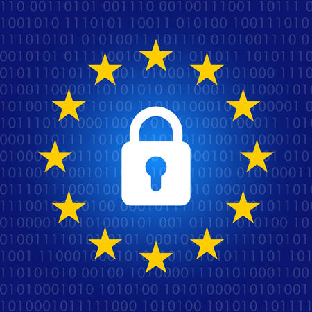 GDPR concept illustration with EU stars and padlock. General data protection regulation icon in blue gradient and binary code.